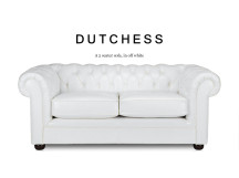 Dutchess 2 Seater Chesterfield Leather Sofa, Off White