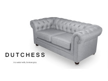 Dutchess 2 Seater Chesterfield Fabric Sofa, Stone Grey