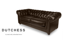 Dutchess 3 Seater Chesterfield Leather Sofa, Chocolate Brown