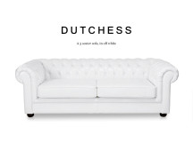 Dutchess 3 Seater Chesterfield Leather Sofa, Off White