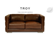 Troy Large 2 Seater Leather Sofa, Sepia Brown