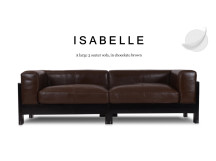 Isabelle Large 3 Seater Leather Sofa, Chocolate Brown