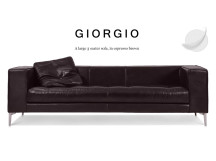 Giorgio Large 3 Seater Leather Sofa, Espresso Brown