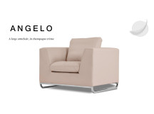 Angelo Large Leather Armchair, Champagne Crème