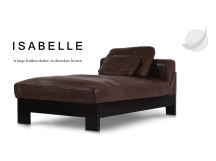 Isabelle Large Leather Chaise, Chocolate Brown