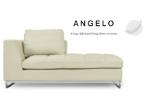 Angelo Large Right Hand Facing Leather Chaise, Cream