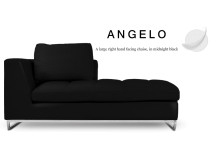 Angelo Large Right Hand Facing Leather Chaise, Midnight Black