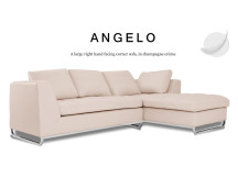 Angelo Large Right Hand Facing Leather Corner Sofa, Champagne Crème