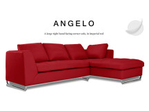 Angelo Large Right Hand Facing Leather Corner Sofa, Imperial Red