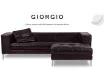 Giorgio Large 3 Seater Leather Sofa with Ottoman, Espresso Brown
