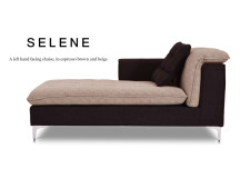 Selene Left Hand Facing Fabric Chaise, Espresso Brown and Beige