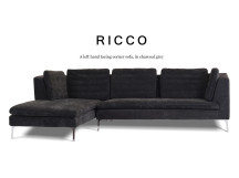Ricco Left Hand Facing Fabric Corner Sofa, Charcoal Grey