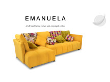 Emanuela Left Hand Facing Fabric Corner Sofa, Jonquil Yellow