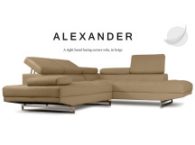 Alexander Right Hand Facing Leather Corner Sofa, Beige