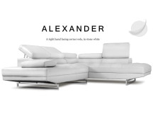 Alexander Right Hand Facing Leather Corner Sofa, Stone White