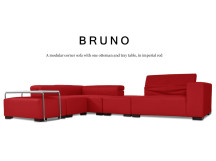Bruno Modular Leather Corner Sofa with Ottoman, Imperial Red