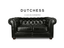 Dutchess 2 Seater Chesterfield Leather Sofa, Midnight Black