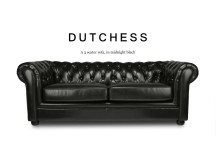 Dutchess 3 Seater Chesterfield Leather Sofa, Midnight Black