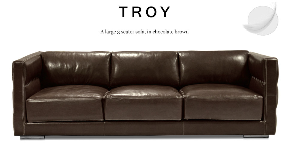 Troy Large 3 Seater Leather Sofa, Chocolate Brown