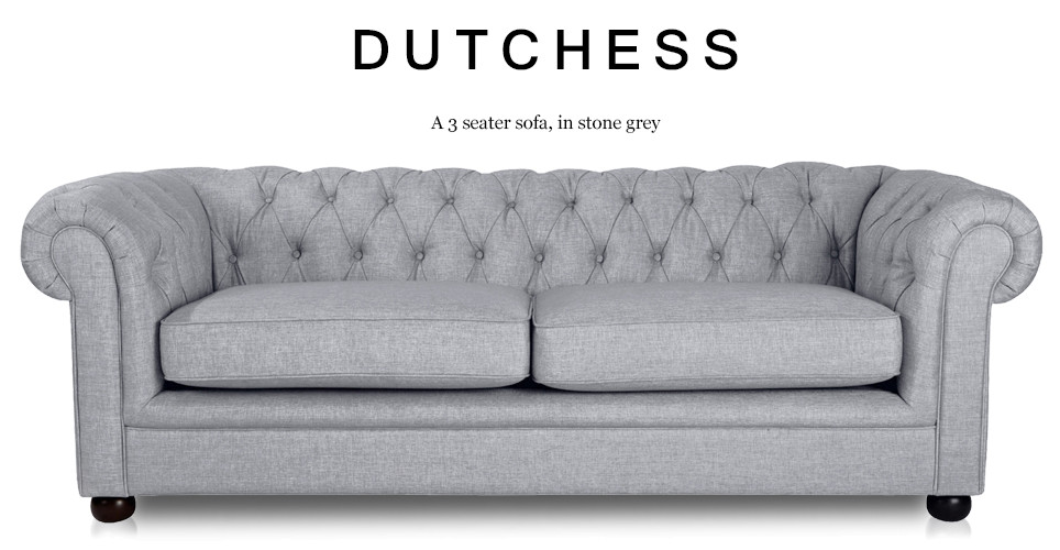 Dutchess 3 Seater Chesterfield Fabric Sofa, Stone Grey