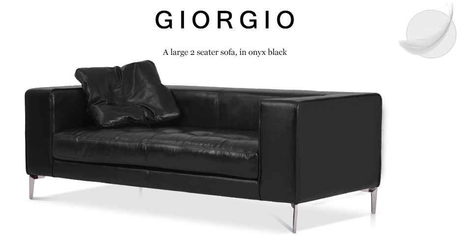 Giorgio Large 2 Seater Leather Sofa, Onyx Black