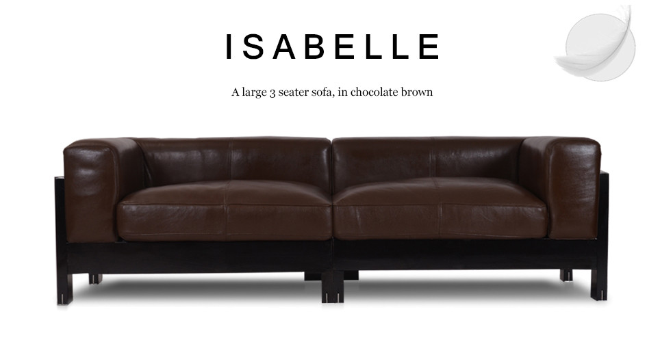 Isabelle Large 3 Seater Leather Sofa in Chocolate Brown ...