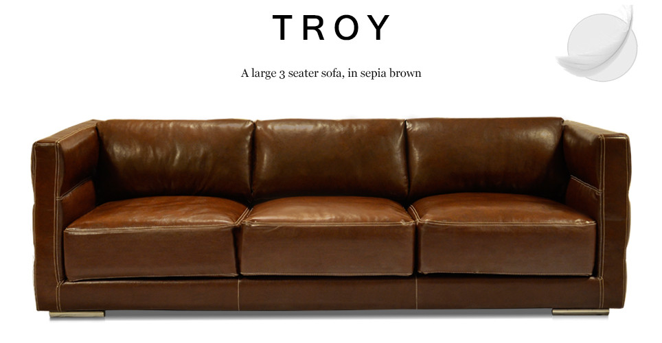 Troy Large 3 Seater Leather Sofa In