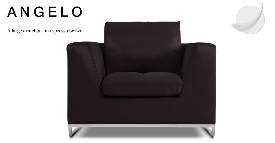 Angelo Large Leather Armchair, Espresso Brown