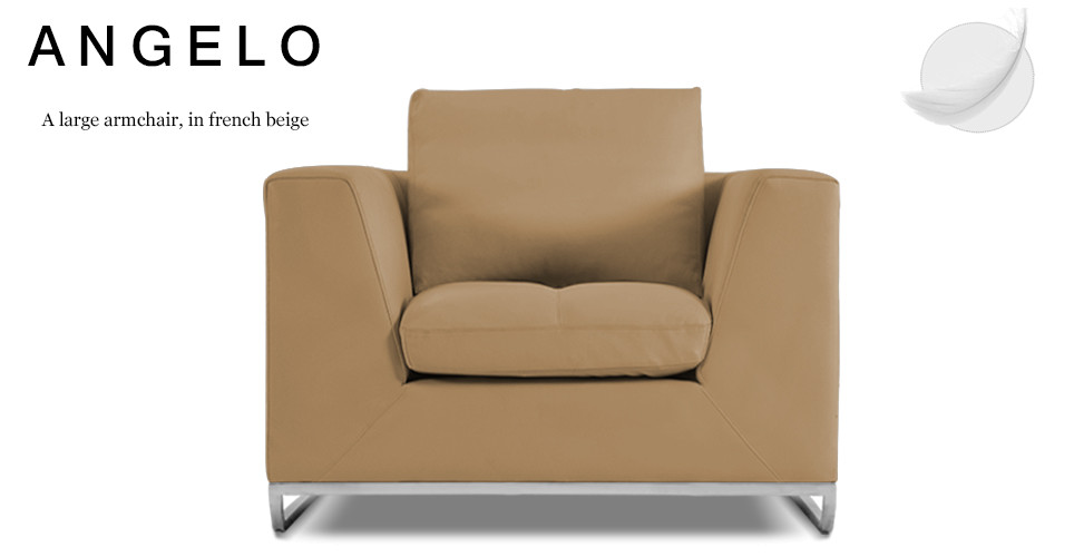 Angelo Large Leather Armchair, French Beige