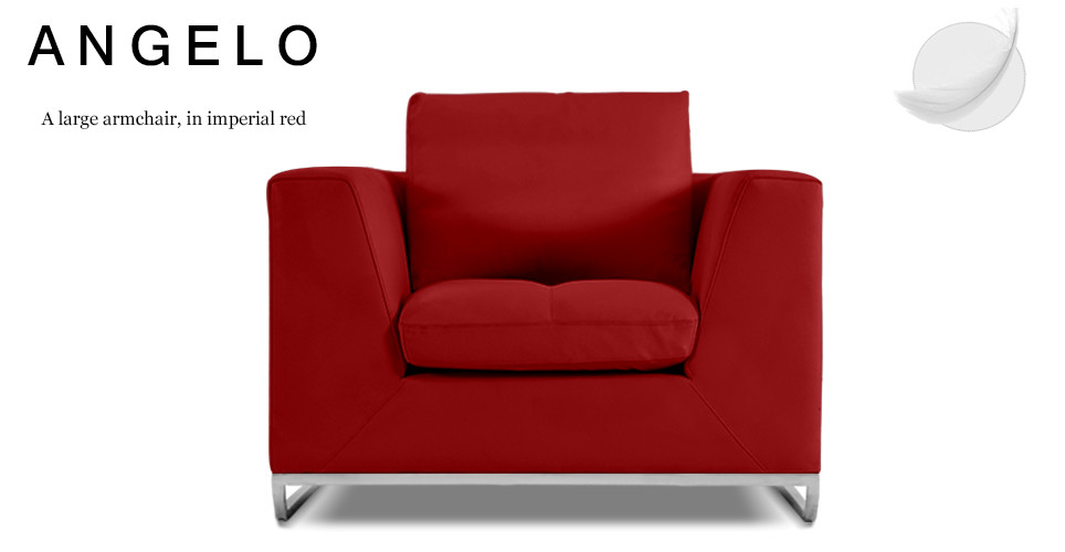 Angelo Large Leather Armchair, Imperial Red