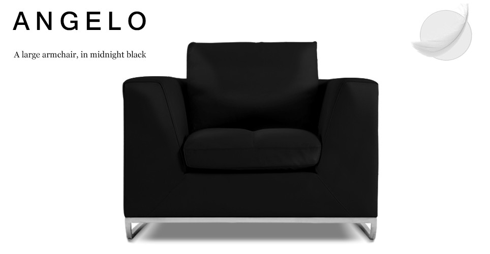 Angelo Large Leather Armchair, Midnight Black
