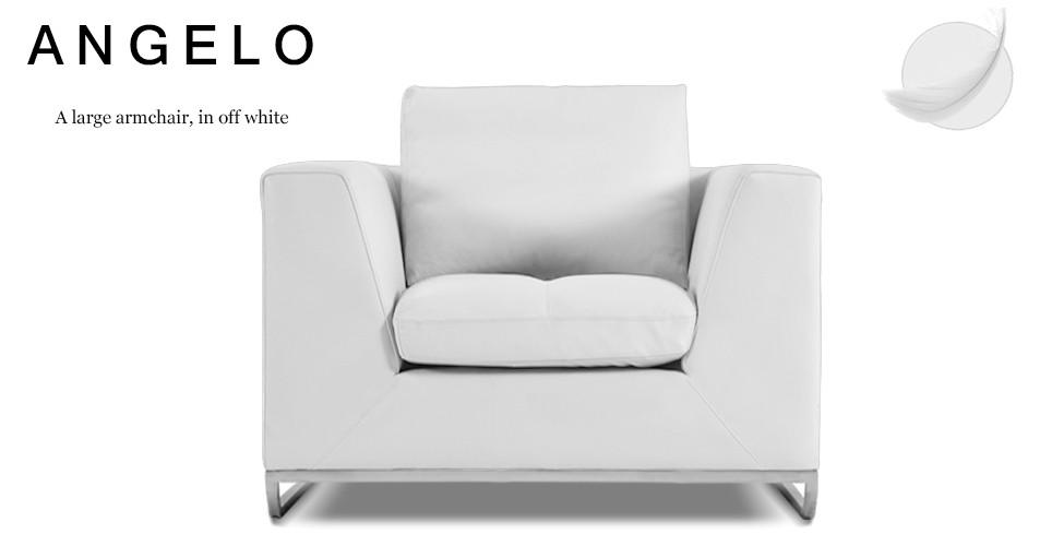 Angelo Large Leather Armchair, Off White