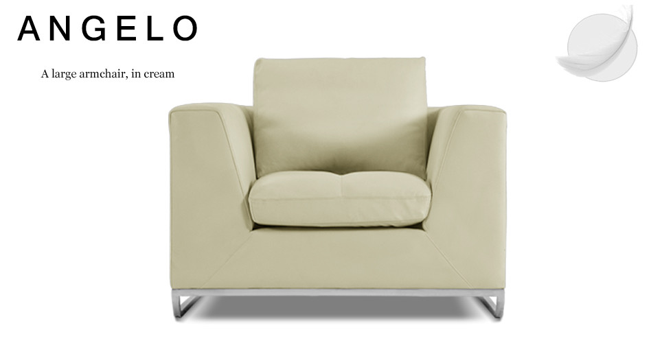 Angelo Large Leather Armchair, Cream