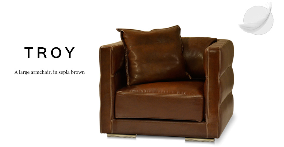 Troy Large Leather Armchair, Sepia Brown