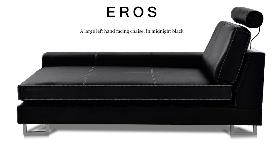 Eros Large Left Hand Facing Leather Chaise, Midnight Black