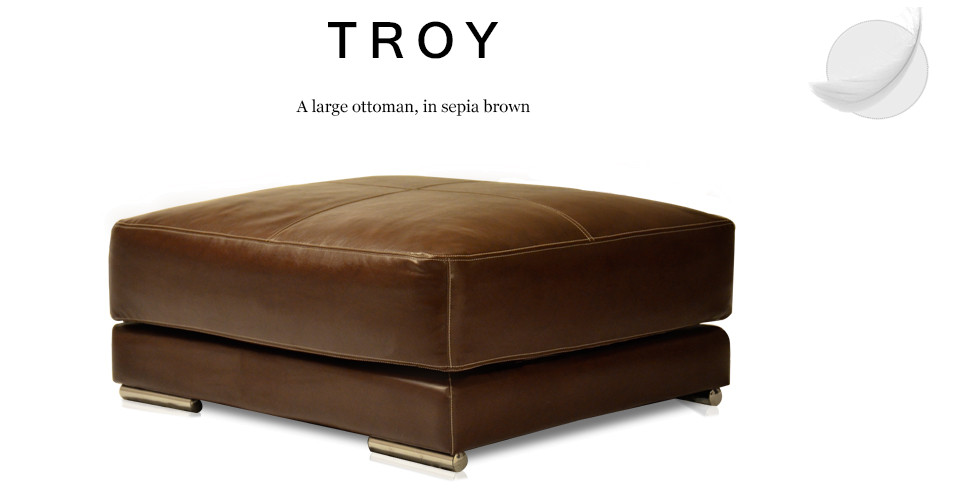 Troy Large Leather Ottoman, Sepia Brown