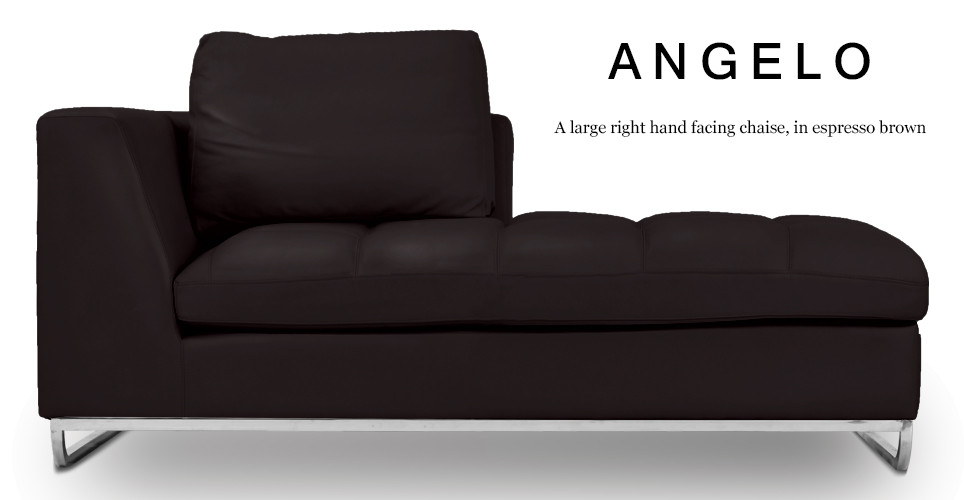 Angelo Large Right Hand Facing Leather Chaise, Espresso Brown