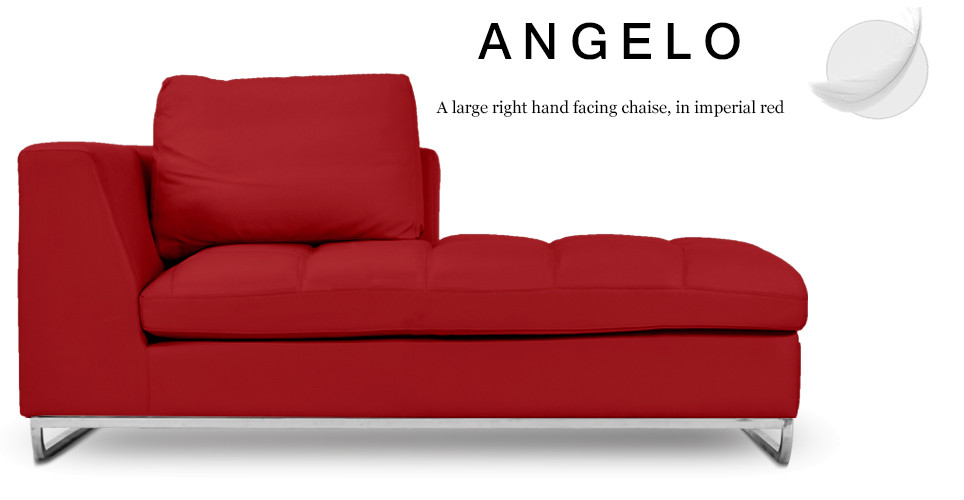 Angelo Large Right Hand Facing Leather Chaise, Imperial Red