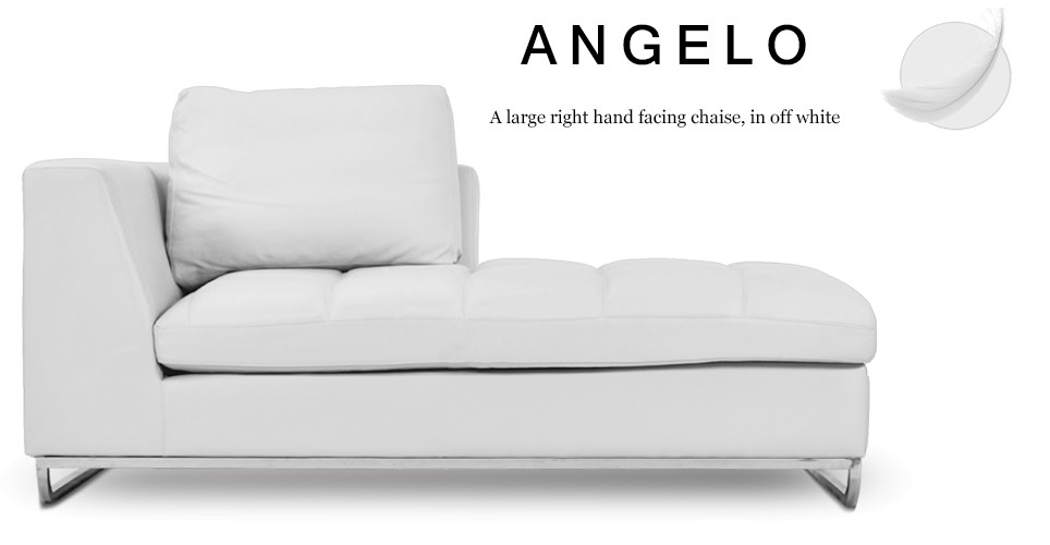 Angelo Large Right Hand Facing Leather Chaise, Off White