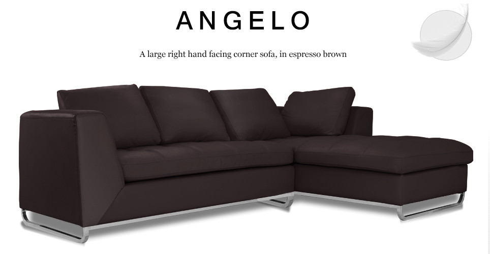 Angelo Large Right Hand Facing Leather Corner Sofa, Espresso Brown