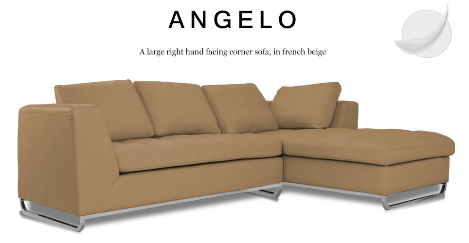 Angelo Large Right Hand Facing Leather Corner Sofa, French Beige