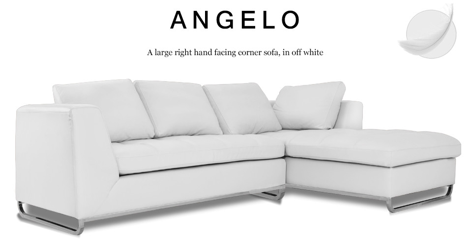 Angelo Large Right Hand Facing Leather Corner Sofa, Off White