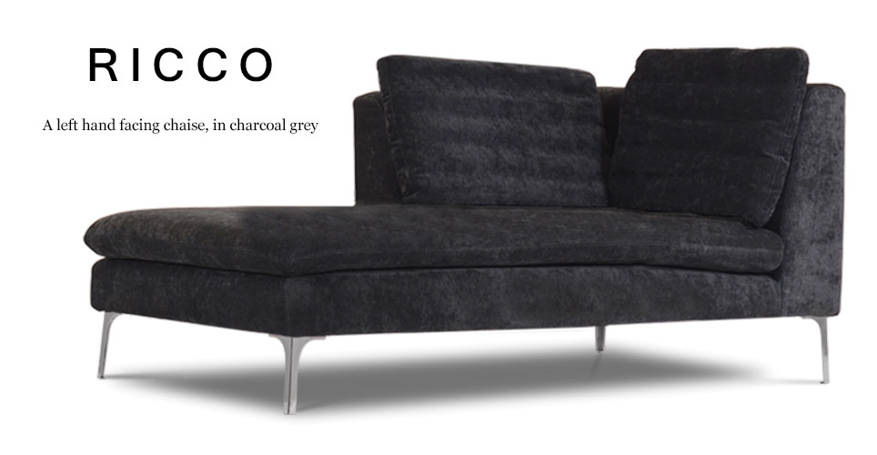 Ricco Left Hand Facing Fabric Chaise, Charcoal Grey