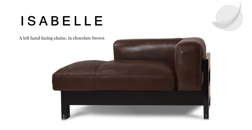 Isabelle Left Hand Facing Leather Chaise, Chocolate Brown