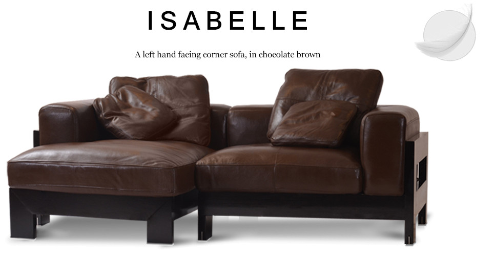 Isabelle Left Hand Facing Leather Corner Sofa, Chocolate Brown