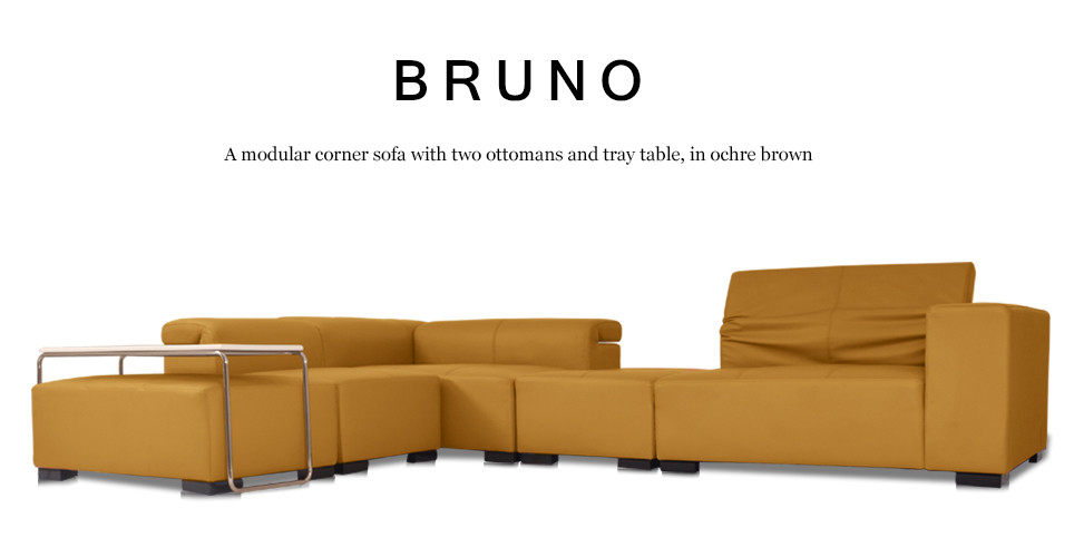 Bruno Modular Leather Corner Sofa with 2 Ottomans in Ochre ...
