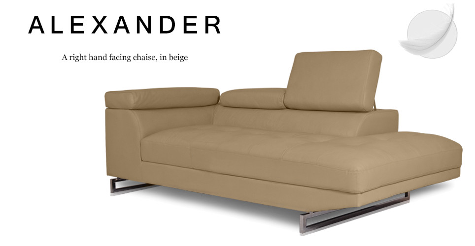 Alexander Right Hand Facing Leather Chaise, Beige