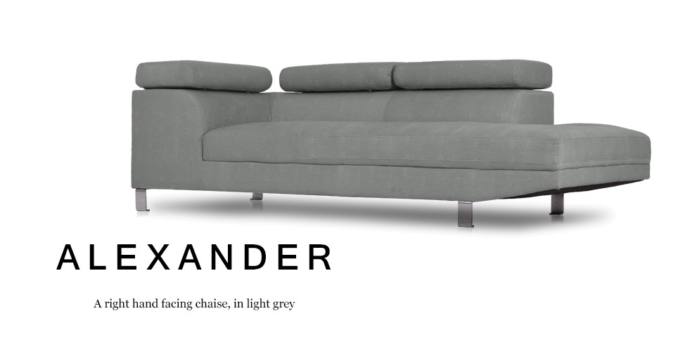 Alexander Right Hand Facing Fabric Chaise, Light Grey