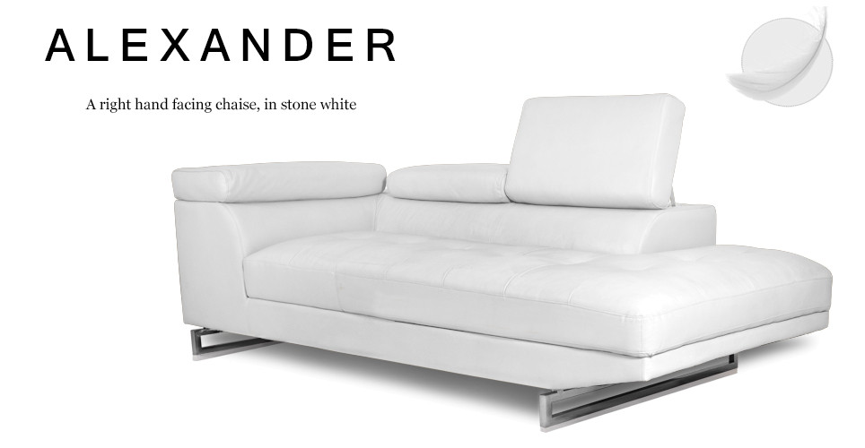 Alexander Right Hand Facing Leather Chaise, Stone White