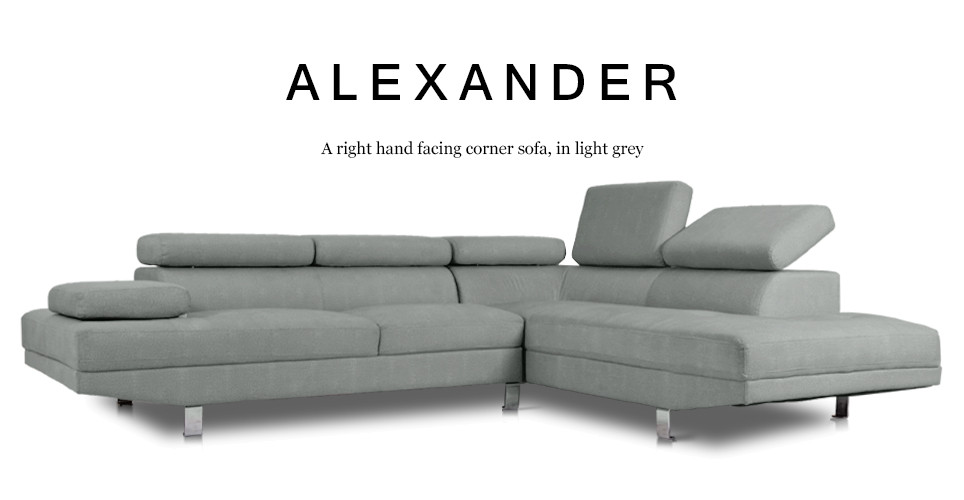 Alexander Right Hand Facing Fabric Corner Sofa, Light Grey
